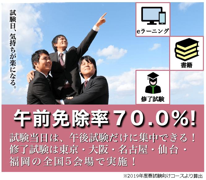 午前免除合格率70.0%!!